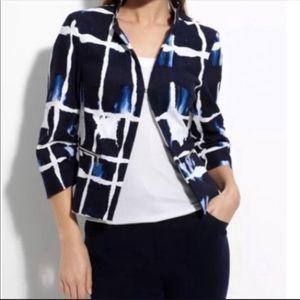 St. John Blue/White Abstract Print Blazer Size 8